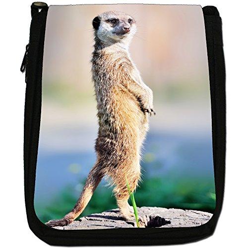 Meerkat Size Looking Alert Shoulder Wildlife Bag Black Meercat Medium Animal Canvas azPqw7z5
