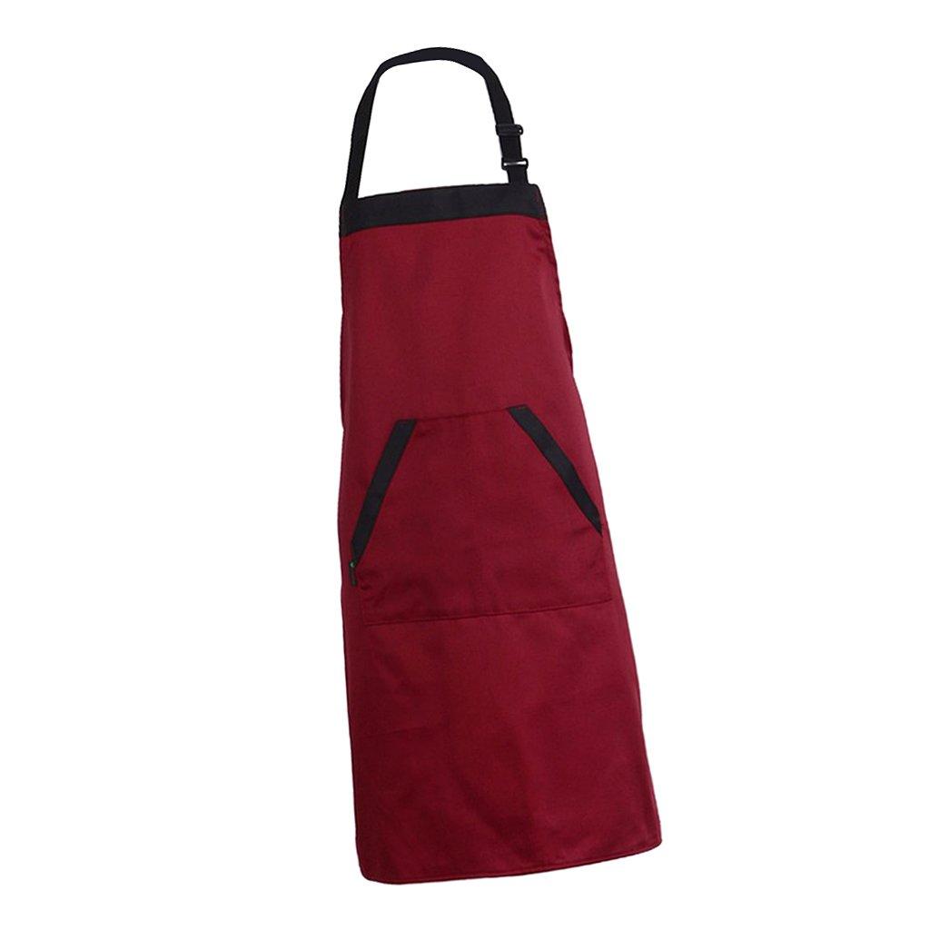 MagiDeal Verstellbar Kochschürze/Küchenschürze mit großen Taschen weich Grillschürze, Backschürze Backschürze - rot non-brand