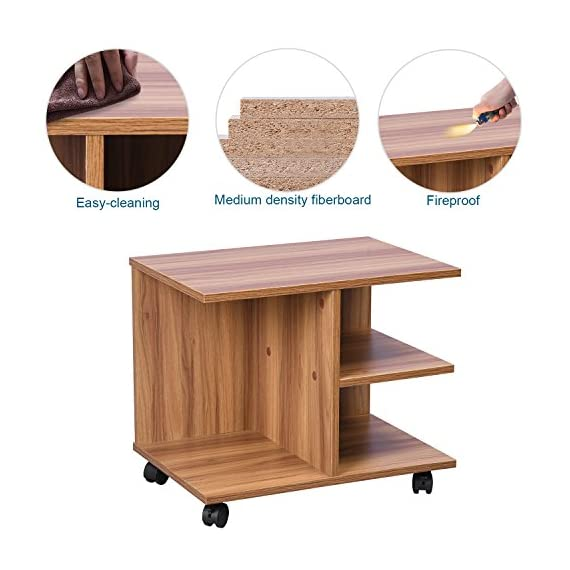 GreenForest Modern Bedside End Table Nightstand, Printer Stand with Storage Shelf and Lockable Wheel for Bedroom, Walnut. -  - nightstands, bedroom-furniture, bedroom - 510oUWlT WL. SS570  -