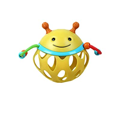 Stroller Hanging Soft Baby Animal Rattle Pram Crinkle Toy Crib Squeaky Roll Around Rattle Toy Bee 1pc: Jewelry