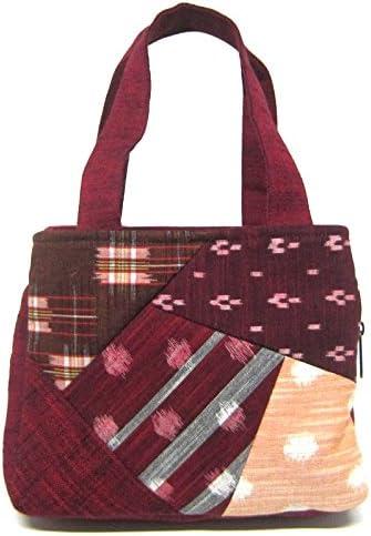 [不知火] 日本製 福岡県伝統工芸品 久留米絣バッグ 和柄 パッチワーク使用 多機能 両ポケット 手提げバック 赤色