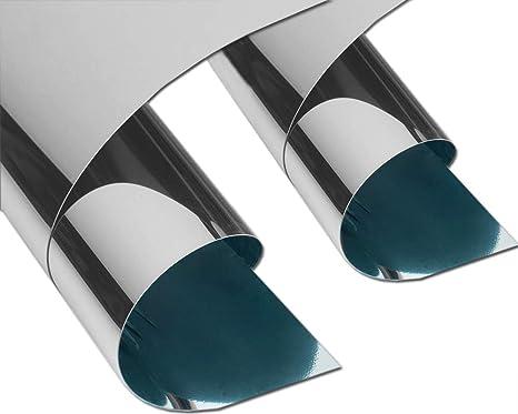 Specchio adesivo argento lucido con protez tagliabile effetto