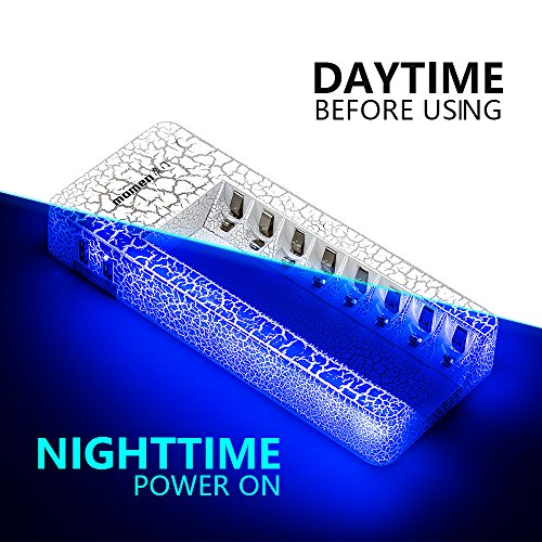 Ni-MH NiCD AA & AAA Battery Charger Smart Rechargeable Batteries Momen Power Device Daul USB Port for Cell Phone Plug by USB Cable Blue LED Lights Hint Over Charing Protects(8 Bay)