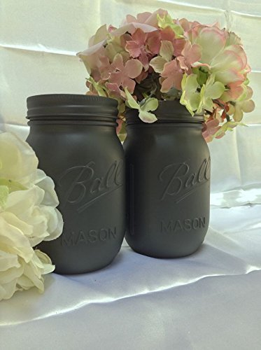 Set of 2 Painted Ball Mason Jars Grey Rustic Home Decor Accents by A Simple Little Something