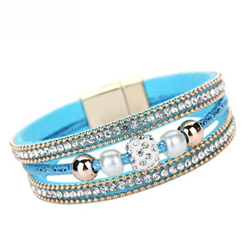 GBSELL Fashion Women Multilayer Bangle Bracelet Crystal Beaded Leather Magnetic Wristband (Blue)