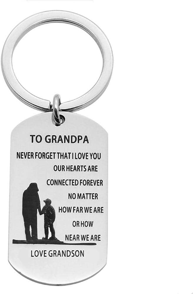 Keychain Gifts for Grandpa Grandfather Never Forget That I Love You to Grandpa Military Dog Tags Inspirationa Keychain Birthday Christmas Gifts for Grandpa Granfather from Grandson