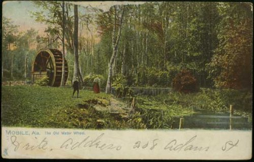 The Old Water Wheel (Tuck series) Convent of the Visitation (Mobile Alabama vintage Postcard) - Series 2355
