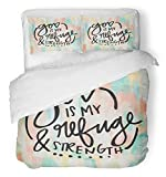Emvency 3 Piece Duvet Cover Set Breathable Brushed Microfiber Fabric Brush Christian Bible Verse with God is My Refuge and Strength Quote Drawn Hand Bedding Set with 2 Pillow Covers Twin Size