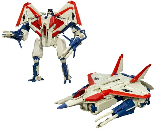 Hasbro Year 2007 Transformers Automorph Technology Movie Series Voyager Class 8 Inch Tall Robot Action Figure - Decepticon STARSCREAM with Exclusive G1 Deco, Missile Launchers and 6 Missiles (Vehicle Mode : F-22 Raptor Jet) (Decepticon Jet)