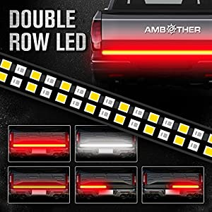 "AMBOTHER 60"" Truck Tailgate Light Bar Double Row LED Flexible Strip Running Turn Signal Brake Reverse Tail light For Pickup Trailer SUV RV VAN Car Towing Vehicle,Red/White,No-Drill,1 yr warranty"