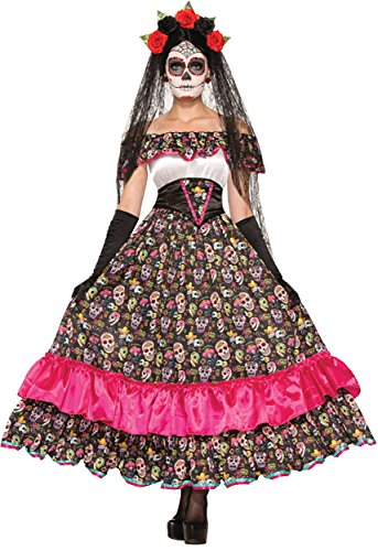 UHC Day of the Dead Spanish Lady Outfit Womens Fancy Dress Halloween Costume, OS (Spanish Ladies Fancy Dress Costumes)