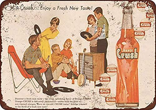 Linvender 1960 Orange Crush Vintage Art Beautiful Traditional Tin Label 12 8 Advertising Wall Decoration Gift