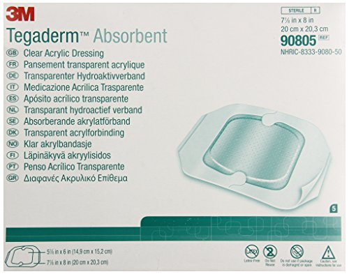 3M Tegaderm Absorbent Clear Acrylic Dressing, Large Square 90805, 5 Pads