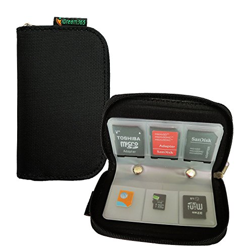 iDream365(TM) Black Memory Card Carrying Case/Pouch Holder for SD SDHC MMC CF Micro SD Memory Card- 8 Pages and 23 Slots