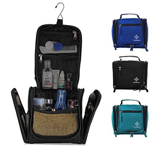 Kleiner Premium Kulturbeutel mit viel Platz | Kompakte Reise-Kulturtasche zum Aufhängen für Frauen & Männer | Wasserresistente Waschtasche | Handliche Kosmetiktasche mit Henkel (Schwarz)
