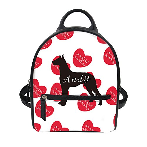 Dog Print Clipart (Dog Clip Art Heart Print Women Mini Backpack Purse School Bag for Toddler Girls)