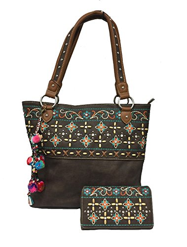 Montana West Ladies Tote Purse and Wallet Floral Embroidery Pompom Charm Coffee