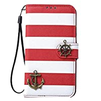 Tonsee Galaxy S5 hülle - [ Galaxy S5 Case Cover ] Streifen Anker Ruder Mappen...