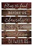 Bless The Food Before Us Brown Distressed 17 x 24 Inch Solid Pine Wood Skid Wall Plaque Sign