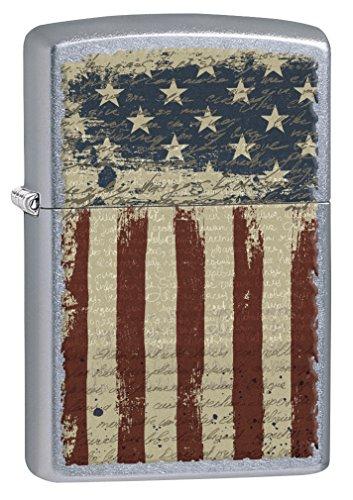 zippo lighter aged american flag street chrome 77091