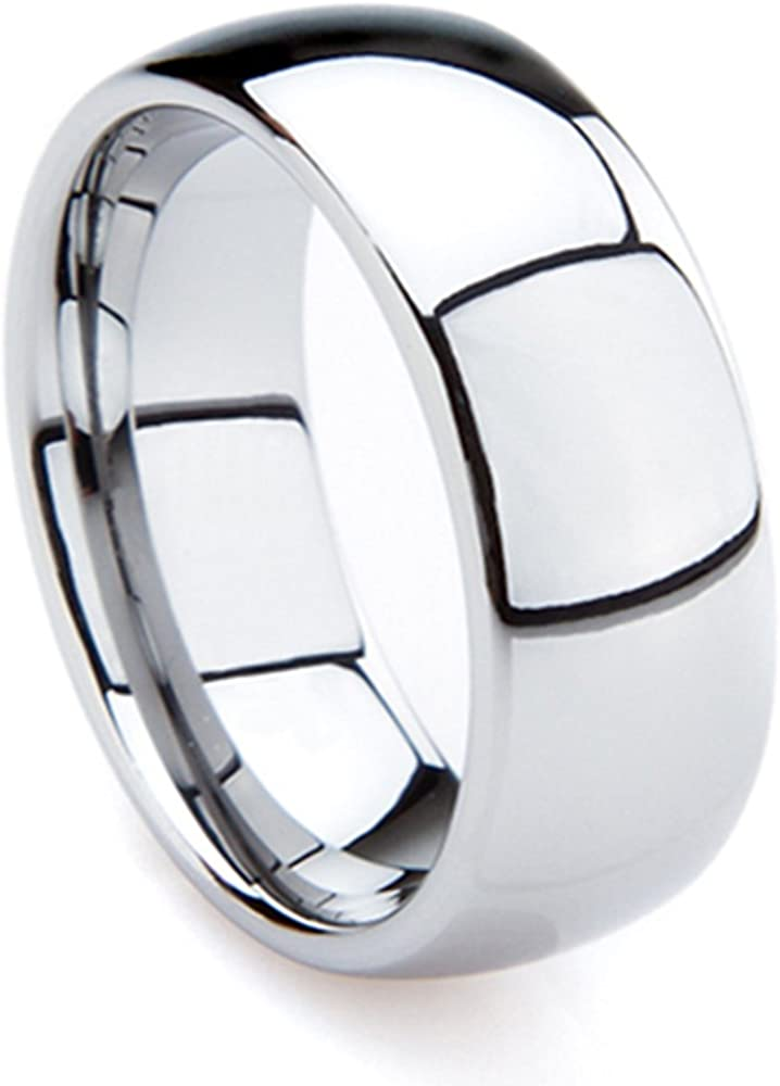 Tungsten Metal 8 mm (5/16 in) High Polished Comfort Fit Domed Wedding Band Ring