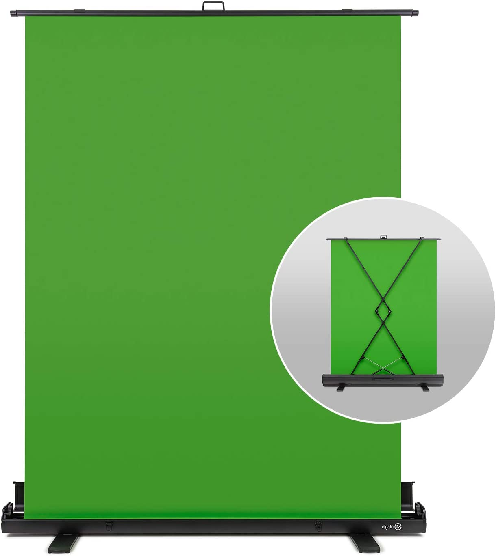 Elgato Green Screen - Panel Chromakey Plegable para Eliminación del Fondo con Marco Autodesplegable, Tejido Verde Chroma Antiarrugas, Estuche Rígido de Aluminio, Colapsable (148 x 180 cm)