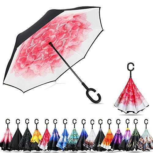 (Ylovetoys Double Layer Inverted Umbrella with C-Shaped Handle, Windproof Car Open Folding Reverse Umbrella UV Protection Large Upside Down Straight Umbrella for Car Rain Outdoor (Peony))