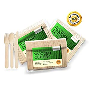 "Wooden Disposable Cutlery 300 pc set: 100 Forks, 100 Spoons, 100 Knives, 6"" Length Eco-Friendly, Biodegradable, Compostable Utensils"