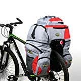 Double Rear Bicycle Bags, 65L Bicycle Pannier Bags Bike Rack Bag Water-resistance and Tear-resistance with Rain Coat (Red)