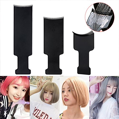 3 PCS Flat Top Balayage Board Comb Hair Highlighting Sectioning Comb Paddle, Balayage Brush Hair Colour Board for Hair Colouring Dye Hairdressing Tool