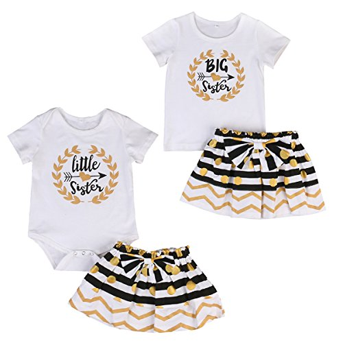 Infant Toddler Girls Matching Tops + Stripe Dots Skirt Outfits Clothes Set (0-6M, - Matching For Girls Outfits