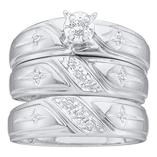 14k White Gold Diamond Solitaire Engagement Ring + Wedding Bands Set Men Women Christian Cross 1/6 ct