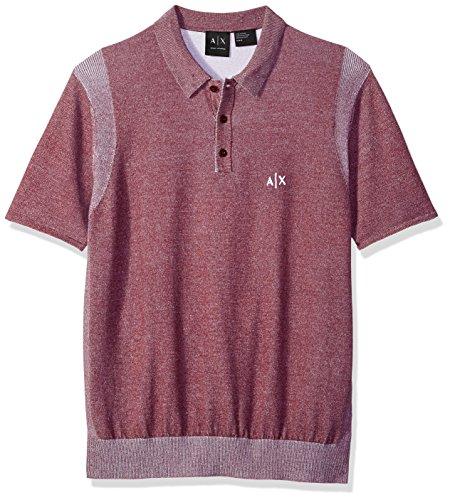 A|X Armani Exchange Men's Short Sleeve Logo Knit, Chocolate/White, S ()