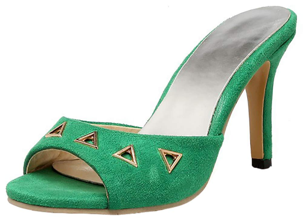 Mofri Women's Elegant Cut Out Peep Toe Slip On Stilettos High Heel Mules Sandals (Green, 5 B(M) US)