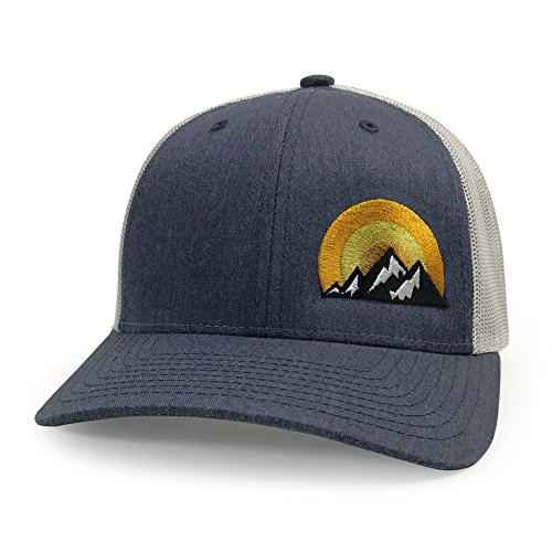 a9655c1c169ef WUE Outdoors Big Mountains Trucker hat for Men (Heather Navy Silver Yellow  Sun)