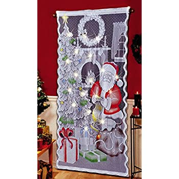 Amazon Com Christmas Tree Lighted Lace Curtain Panel