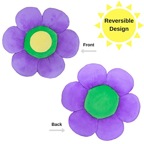 Flower Pillow to be Used as Floor Pillow or Decorative Pillow - Adorable Daisy Flower Shape and Color Purple - Large, Soft and Cozy Pillow for Floor Sitting, Playtents, Girls Bedroom Decor by Floor Bloom (Image #2)