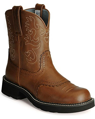 ARIAT Women's Fat Cowgirl Boot Saddle Brown 7.5 W US