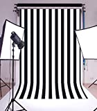 Laeacco Customizable 5x7ft Vinyl Photography Background Backdrop Dark Blue Blurry Black and White Stripes theme Backdrop Photo Studio Props 1.5(w)x2.2(h)m