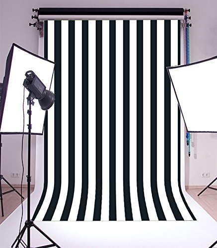 Striped Vinyl (Laeacco Customizable 5x7ft Vinyl Photography Background Backdrop Dark Blue Blurry Black and White Stripes theme Backdrop Photo Studio Props 1.5(w)x2.2(h)m)