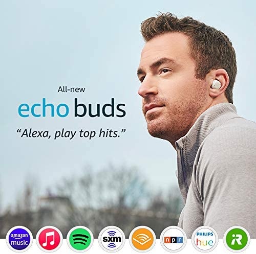 All-new Echo Buds (2d Gen) | Wireless earbuds with lively noise cancellation and Alexa | Wireless charging case | Glacier White