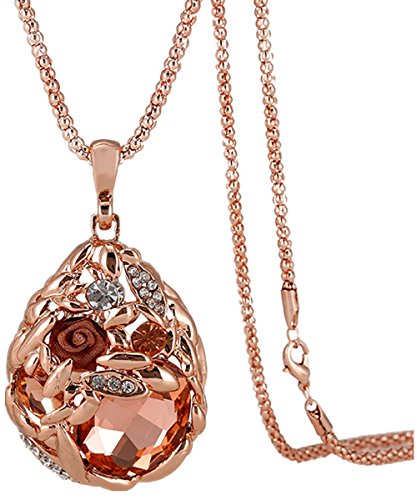 April Costume 2016 (Calors Vitton Rose Gold Plated Flower Water Drop Crystal Long Sweater Chain Pendant Necklace peach pink 11)