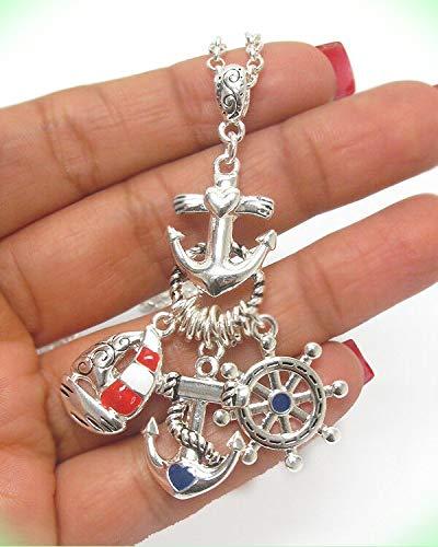 - ANCHOR Nautical Theme Anchor Ship Wheel Sailboat Red White Blue Long Necklace For Women