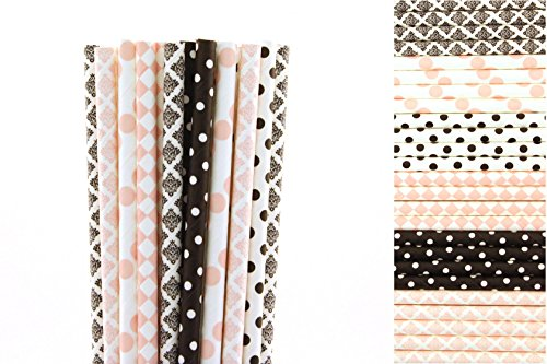 Light Pink and Black Paper Straws Mix - Damask, Polka Dots, Diamond (50) -