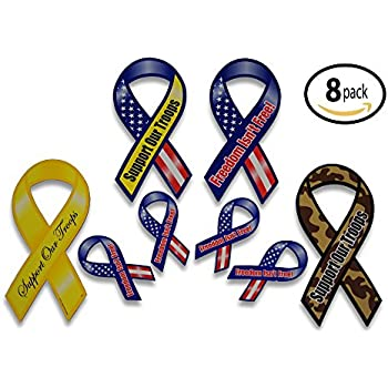 303213e8335 Support Our Troops Patriotic Military Car Magnets Set includes 4 Large and  4 Mini Ribbons in Yellow Camouflage and American US Flag Designs for a  Total of 8 ...