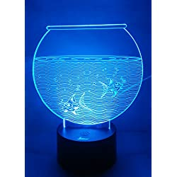 Loveboat USB Powered 7 Colors Amazing Optical Illusion 3D Glow LED Lamp Art Sculpture Lights Produces Unique Lighting Effects and 3D Visualization for Home Decor (Fish Tank)