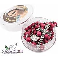 Red Rose Petal Wood Beads Handmade Rosary Catholic Crucifix Necklace