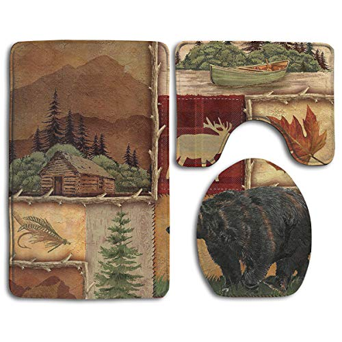 Rustic Lodge Bear Moose Deer Family Flannel Non-Slip Bathroom Rug Mats Set 3 Piece Washable Contour Rug and Lid Cover