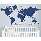 Amazon com: Custom World Map Name Wall Decal Nursery Airplanes Theme