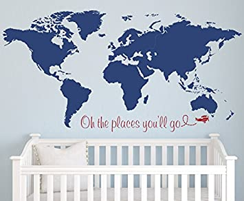 Amazon world map wall decal oh the places youll go airplane world map wall decal oh the places youll go airplane wall decal gumiabroncs Gallery